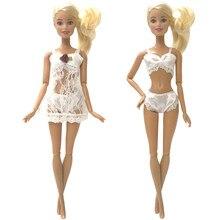 7810c872caa414 NK Een Set Pop Noble Wit Mooie Kant Pyjama Pak Jurk Voor Barbie Pajama Party  Voor Barbie Pop Accessoires F