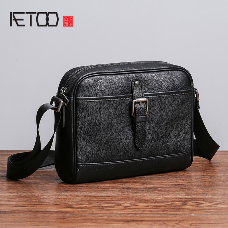 AETOO Mens leather casual fashion oblique cross package horizontal large capacity head layer Cowhide mens shoulder bagAETOO Mens leather casual fashion oblique cross package horizontal large capacity head layer Cowhide mens shoulder bag
