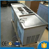 Free shipping by sea CFR terms portable R410 450mm fried double square pan ice cream maker machine
