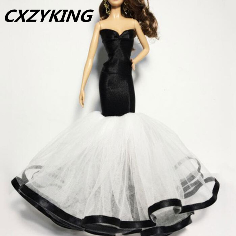 CXZYKING Handmade Gifts For Girls Slim Evening Suit Wedding Strapless Fishtail Skirt Dress Clothes For Barbie Doll Clothes Doll
