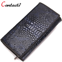 CONTACT S Genuine Leather Wallet Women Bag Alligator Multifunction Long Short Female Phone Purse Vintage Famous