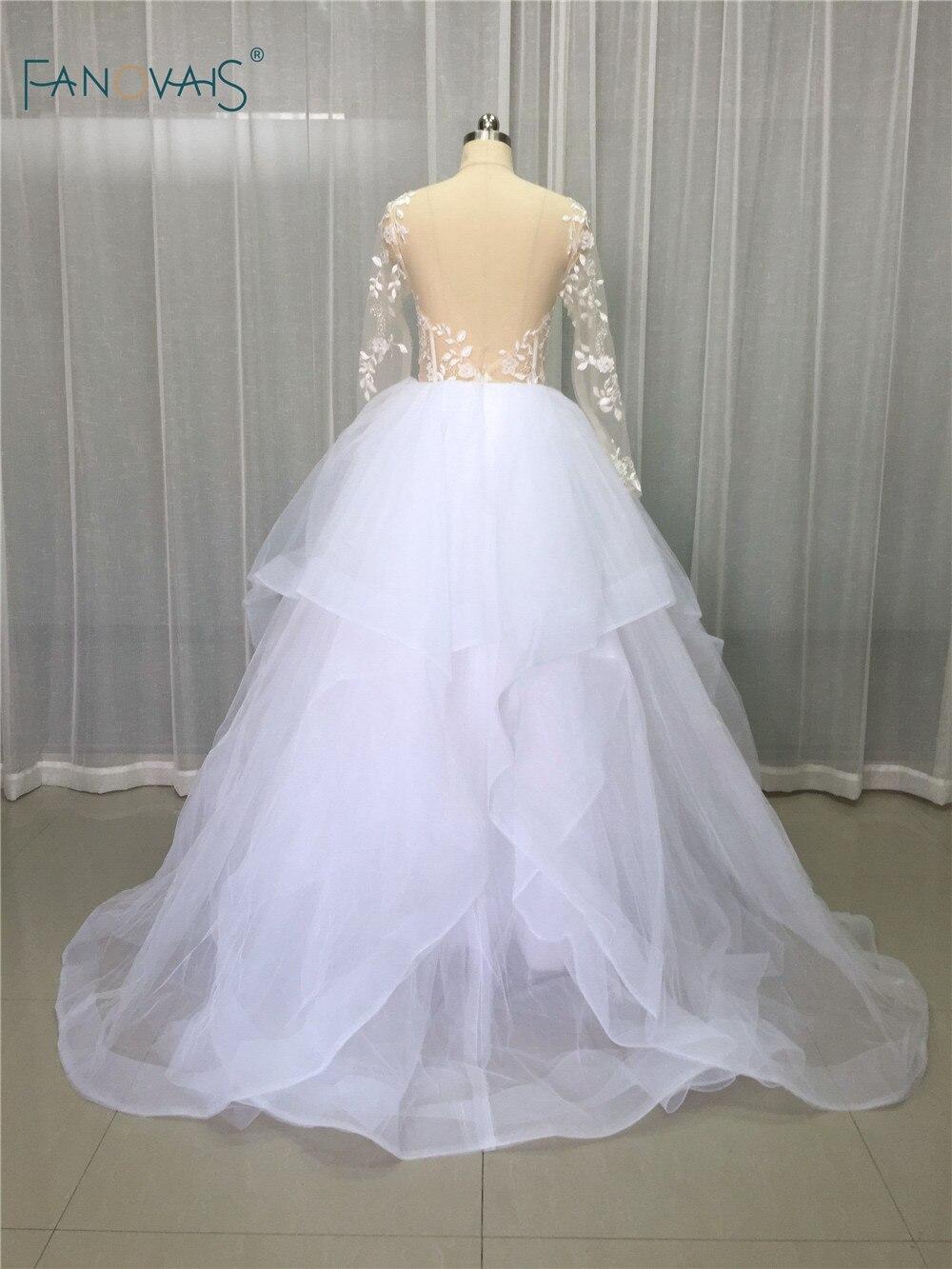 Elegant Blush Wedding Dresses 2017 Long Sleeves Sheer Lace Beaded ...