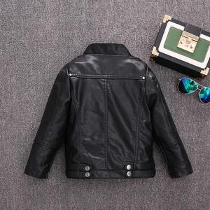 Image 3 - 2 14Y HOT selling new Pu leather jackets for baby girl and boys loose good quality children coats kids spring sutumn tops ws410