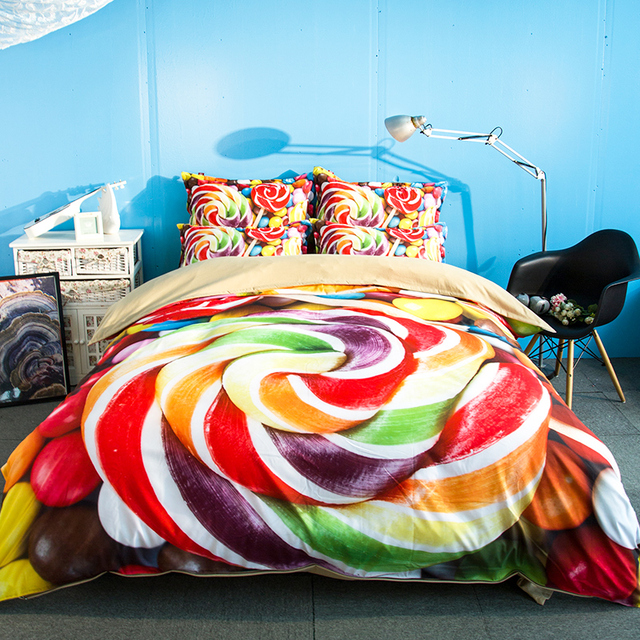 Free Shipping Holiday Gift Colorful Candy Sweets Pattern Bedding Set Quilt Cover With 2 Pillowcase For