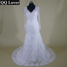 QQ Lover New Spaghetti Straps White Applique Illusion Tulle Mermaid Wedding Dresses Bridal Gown Sheer Back