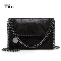 Fashion Womens Stella Design Chain Detail Cross Body Bag Ladies Shoulder Bag Clutch Bag Bolsa Franja