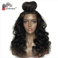 Sunnymay Синтетические волосы на кружеве человеческих волос парики свободные волна бразильского Виргинские волос Кружева Парики Для черный Дл