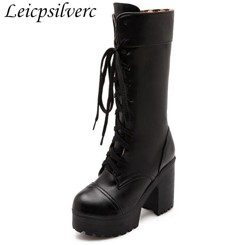 Women Boots Autumn Winter Warm New Sexy Fashion Pu Lace-up Platform Mid-calf Motorcycle Boots Black White High-heeled ShoesWomen Boots Autumn Winter Warm New Sexy Fashion Pu Lace-up Platform Mid-calf Motorcycle Boots Black White High-heeled Shoes