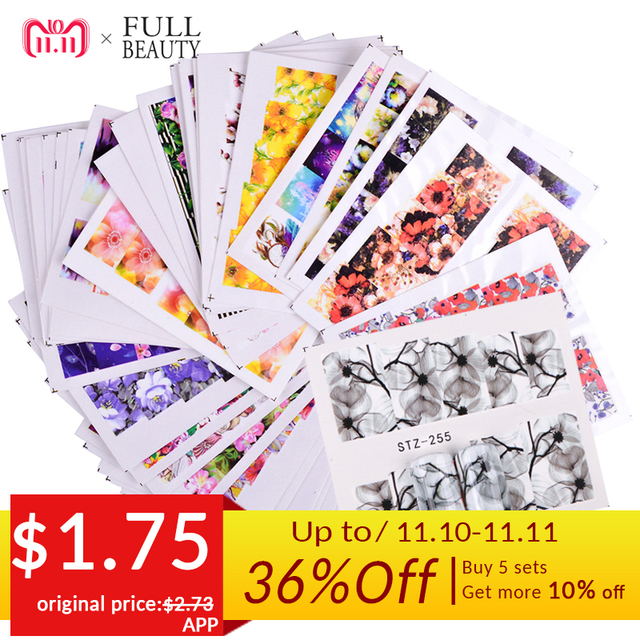 48pcs Mixed 48 Designs Flower Nail Art Full Wraps Nail Foils Nail Sticker Decals Water Transfer Manicure Tips