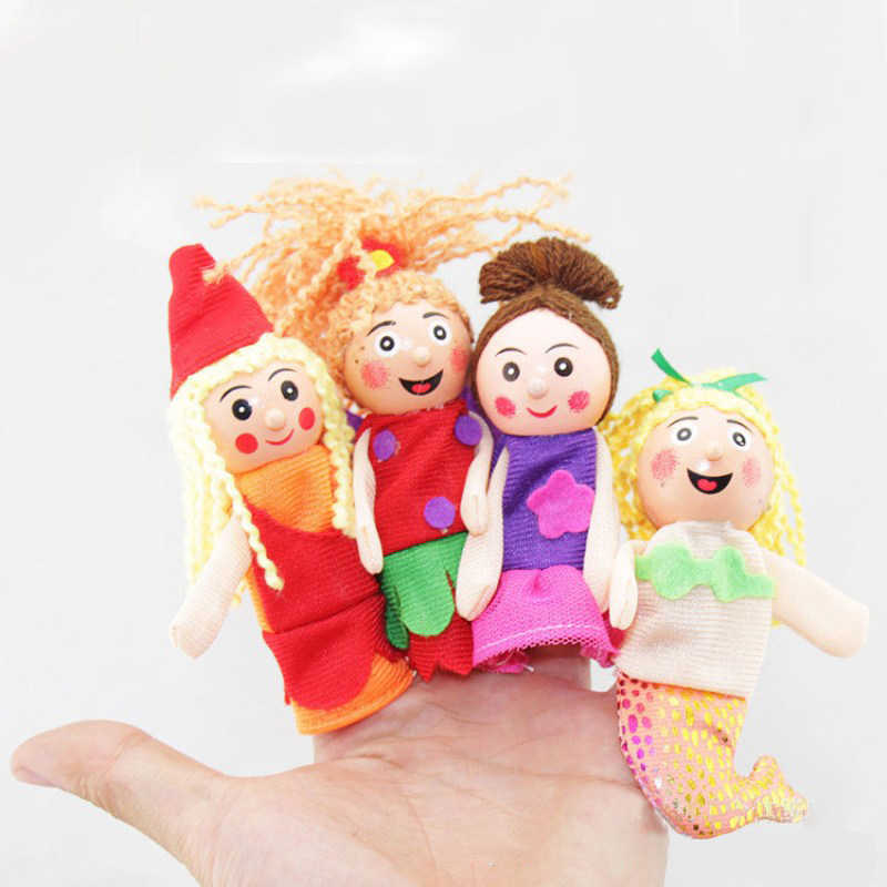Finger Theater Fairy Tales Mermaid Princess Cartoon Figures Fingers Puppets Push Dolls Educational Toys For Children Hand Puppet