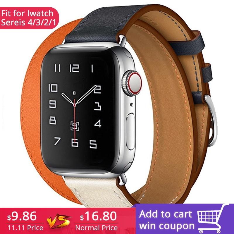 Nueva correa de cuero genuino de 44mm para Apple Watch Series 4 3 2 1 doble Tour pulsera correa de cuero correa de reloj 38mm deporte 42mm Mujer
