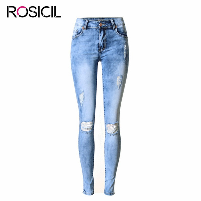 Fashion Mid Waist Ripped Jeans Women Casual stretch Slim Elasticity Pencil Pants Broken Hole Denim Pure Cotton Sexy Jeans Female autumn new fashion cotton jeans women loose low waist washed vintage big hole ripped long denim pencil pants casual girl pants
