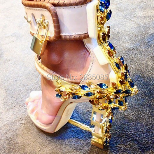 138c6db605c Designer Shoes Women Luxury Gemstone Jeweled Gladiator Sandals Pvc Jelly  High Heels Woman Padlock Ankle Strap