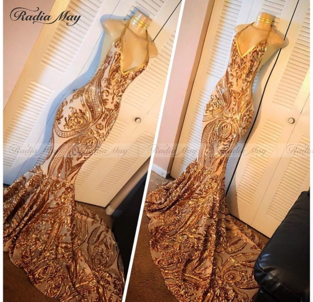 Sparkly Sequin Gold Mermaid Prom Dress 2019 Sexy Halter Backless Black Girls African Prom Dresses Court Train Graduation Gowns