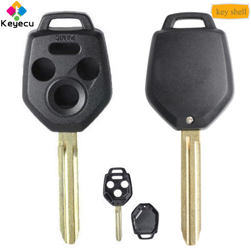 KEYECU Remote Control Car Key Shell Case With 3 1/ 4 Button Keyway B110 - FOB for Subaru Forester Legacy Impreza STI 2012-2017