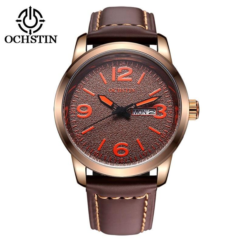 Men Fashion quartz Watches Genuine Leather Strap round Waterproof Watches stainless steel dial window hardlex watches