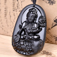 Black Hand carved Natural Obsidian Buddha Dragon Amulet Pendant With Necklace