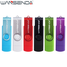 WANSENDA High Speed OTG USB Flash Drive Metal Pen Drive 8GB 16GB 32GB 64GB 128GB Smart Phone USB 2.0 Pendrive Micro USB Stick