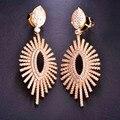 Jóias de Casamento de luxo Brincos Para Mulheres AAA + Zircon Cristais Completos Olhos Forma Boucle d'oreille Piercing Brincos de Cobre