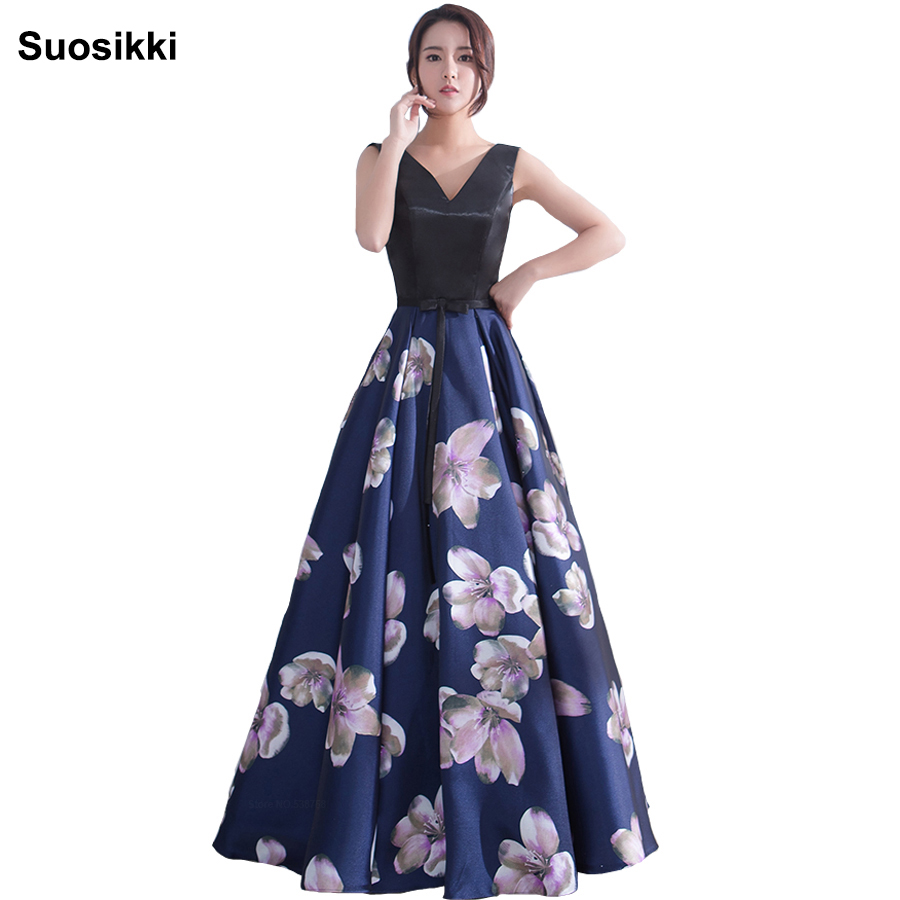 Suosikki evening dress long V Neck Floral Formal Dresses backless formal prom occasion dresses satin Robe De Soiree Party Gowns(China)