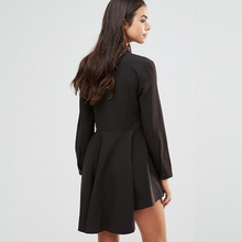 Casual Shirt Dress Women Clothes Spring 2018 New Arrivals Fashion Long Sleeve Chiffon Dresses Womens Asymmetrical Dress Black