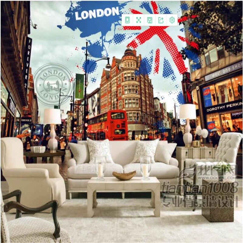 Custom Mural Wallpaper 3d Uk London Street Landscape Photo