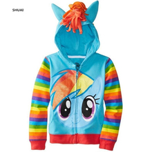 New Little Pony Girls Coat Autumn And Spring Cartoon Cotton Novelty Kids Jacket Children Lovely Hooded Coats Kids Clothing