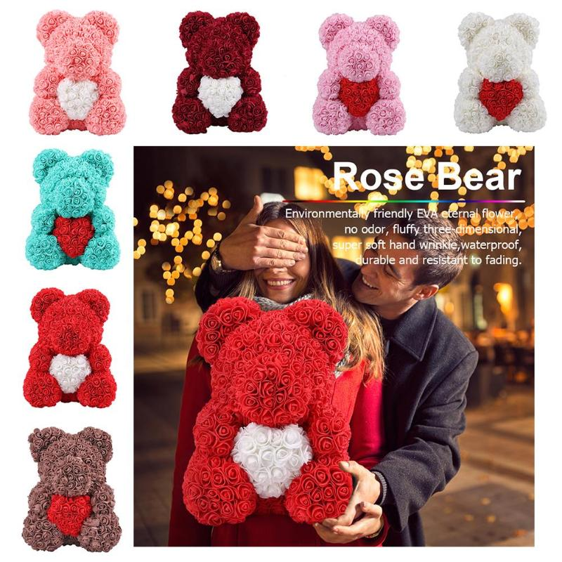 New 25cm/36cm Artificial Flowers Rose Bear Valentine's Day Gift Girlfriend Anniversary Birthday Gift Romantic Decorations