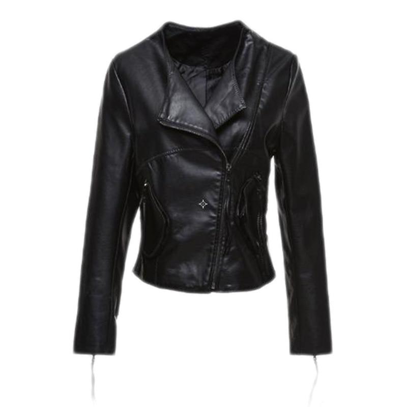 Autumn Winter Leisure Black   Leather   Jacket Women PU   Leather   Coat Women's Short Motorcycle Biker Jacket Outerwear