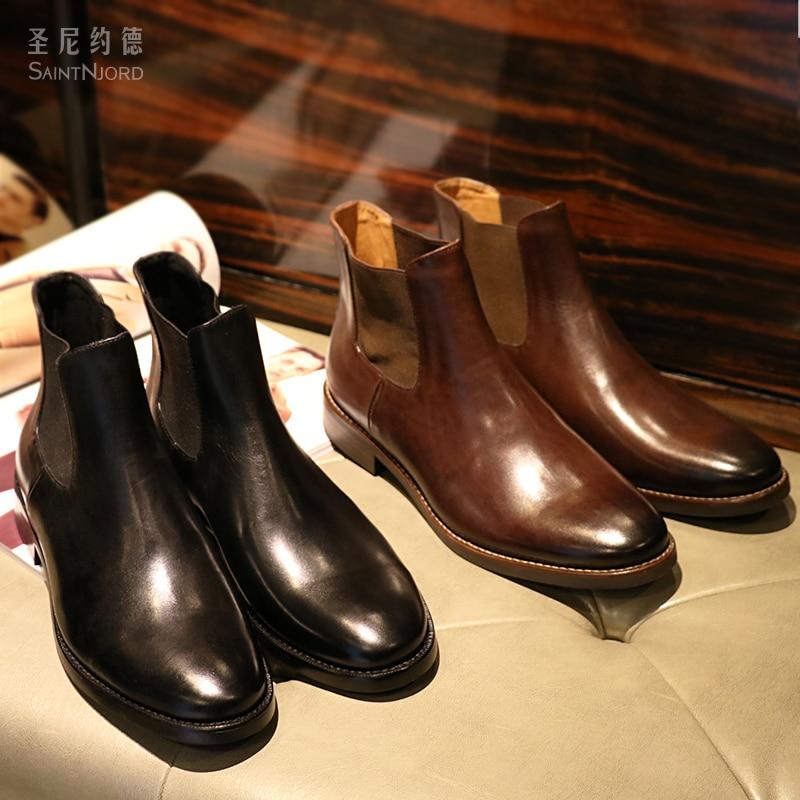 где купить Autumn winter Italian men's genuine leather ankle booties British men's Chelsea short boots Brown/black slip on boot shoes men дешево