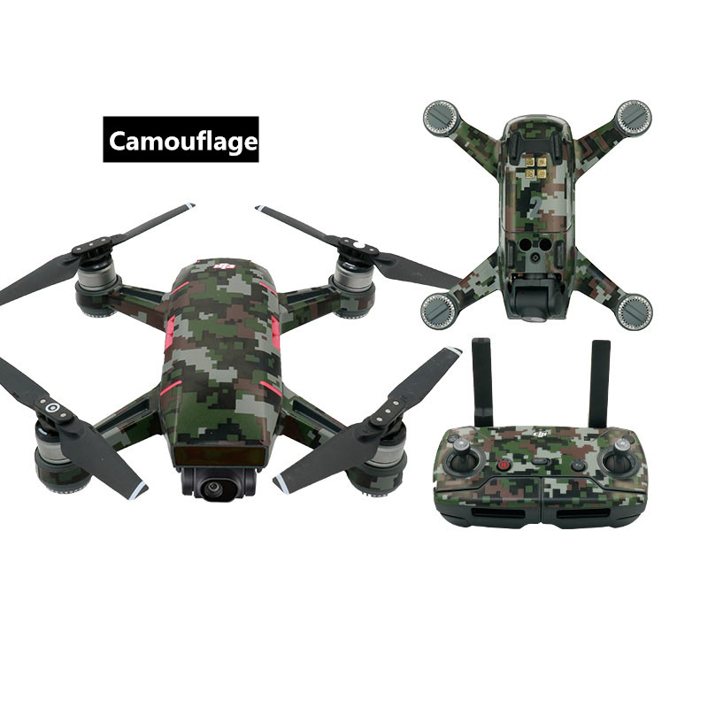 Spark Drone Sticker With 3 Battery Stickers Carbon Fiber Skin Decals For DJI Spark Drone Accessories