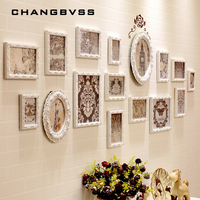 Europe Style 16 pcs/set Wooden Photo Frame Set,White Frames for Picture,Carved Wooden Picture Frames for Wedding Home Decoration