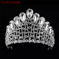 XIAONIANSHI Gorgeous Sparkling Silver Big Wedding Diamante Pageant Tiaras Hairband Crystal Bridal Crowns For Brides Headpiece