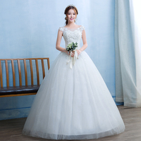 Do Dower 2019 New Wedding Dress Bride Gown Vintage O neck Korean Simple Large Size Lace Cheap Wedding Dress