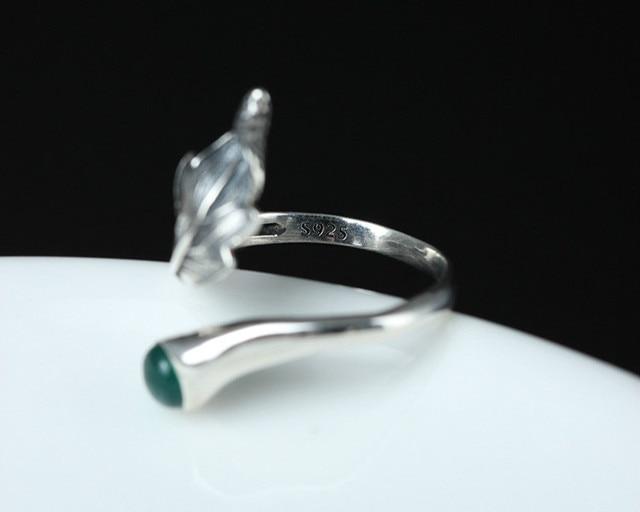 Женские открытые кольца с натуральным нефритовым пером и листьями