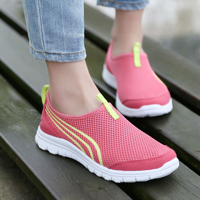 LEOCI New Women Light Sneakers Summer Breathable Mesh Female Running Shoes Trainers Walking Outdoor Sport Comfortable 2018 autumn sneakers women breathable mesh running shoes damping sport shoes woman outdoor blue walking zapatos de mujer betis