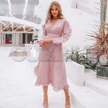 CUERLY Casual Striped V neck women dress spring Ruffle long sleeve bow tie long dresess Vintage cotton female vestidos 2019 недорого