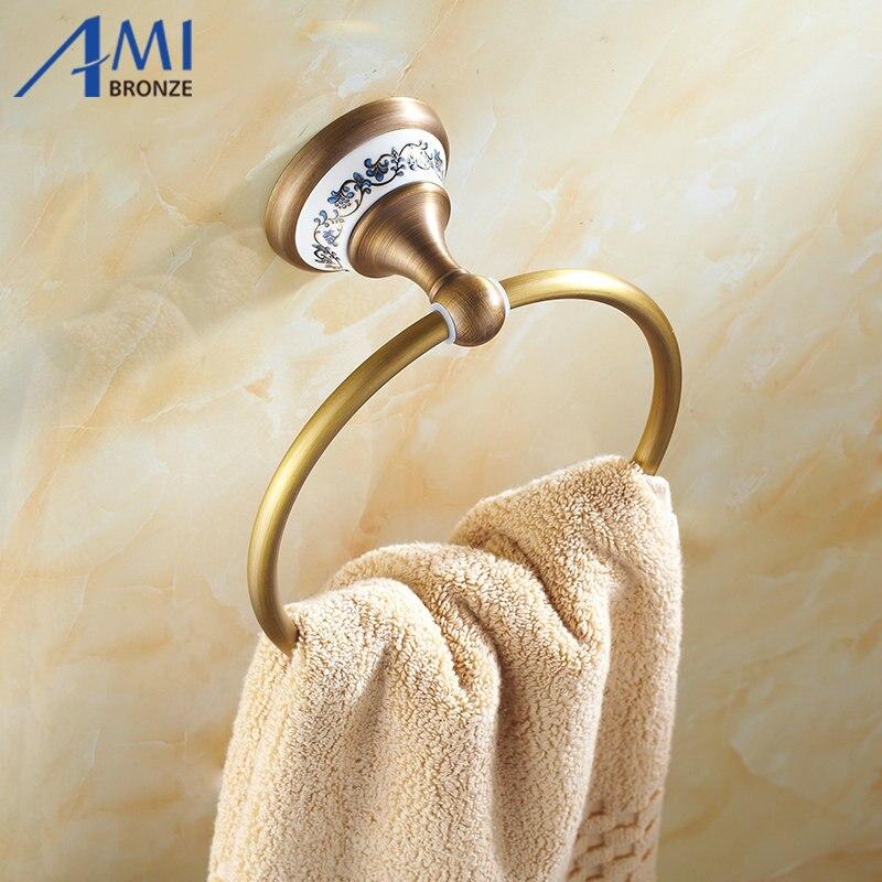 AP1 Series Antique Brass Towel Ring Porcelain Base Wall Mounted Bathroom Accessories Towel Shelf Towel Holder