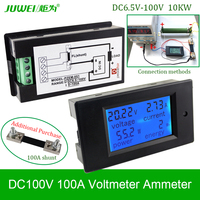 Digitale DC Voltmeter 100V100A Voltage Meter Ammeter Huidige Power Energy Watt Wh Volt Amps Batterij Monitor Blauw Backlight Panel