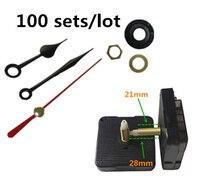 100 sets Black Heart Hands Quartz wall clock Movement Mechanism Parts Repair Replacing DIY Essential Tools Silent 28mm shaft