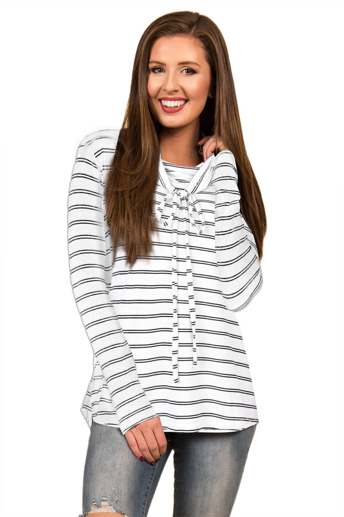 Elegant 2017 Autumn Hooeded Sweatshirt Women Striped Long Sleeve Pullover Streetwear Pocket Cotton Blend Hoodies S M L XL