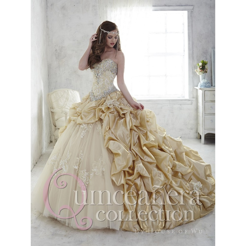2017 Gold Quinceanera Dress Ball Gown Sweetheart Beaded