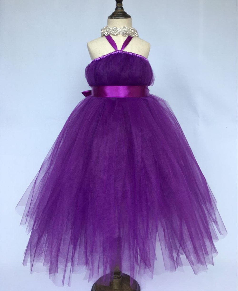 Hot Girls Purple Long Tutu Dress Kids Fluffy Vintage Dress Ball Gown with Ribbon Bow and Headband Children Party Princess Dress