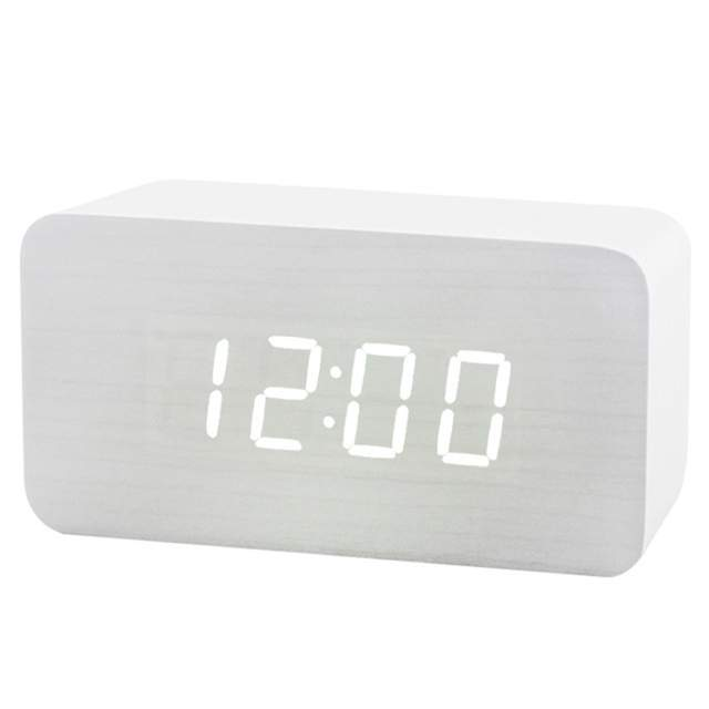 US $13 06 40% OFF|LED Alarm Clock Modern Snooze White Wood Desk Digital  Clock for Bedroom Sound Control Electronic Table Clocks Birthday Gift-in  Alarm