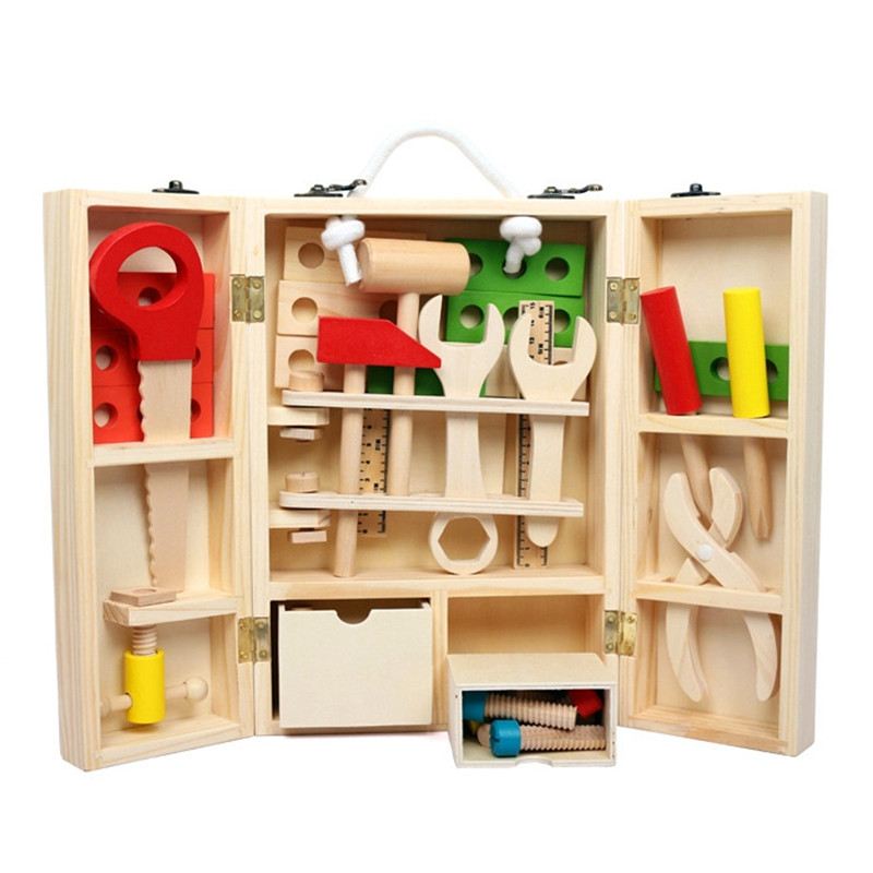 New Wood Repair Tools Pretend Play Toys Educational Building Tool Kits Set Kids Early Learning Wooden Toy Model For Children 32 pcs setcolor changed diy jigsaw toys wooden children educational toys baby play tive junior tangram learning set