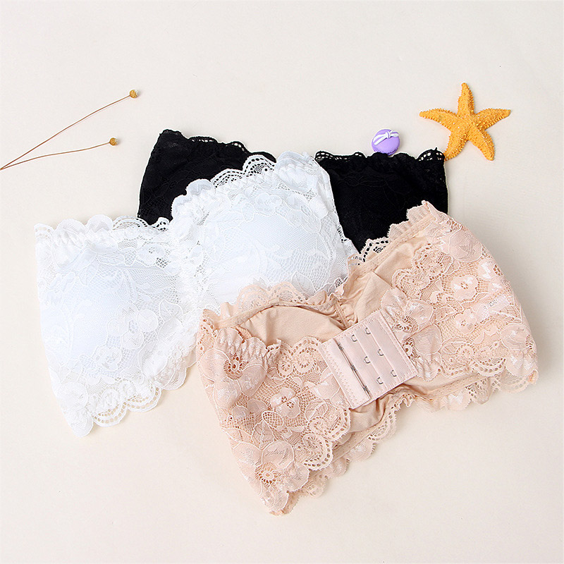 Fashion Sexy Summer Women Strapless Bra Lace Tube Top Bandeau Crop Tank Seamless Padded Underwear HSJ88