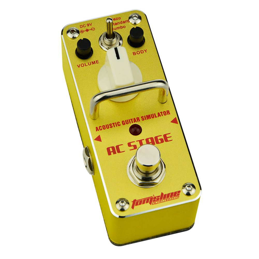 Aroma AC Stage Acoustic Guitar Simulator Effect Pedal AAS-3 High Sensitive Durable Top Knob Volume Knob True Bypass Metal Shell aroma dumbler dumble amp simulator guitar effect pedal adr 3 sound overdrive mini analogue volume control gain tone control