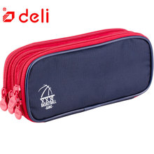 Deli Portable Pencil Bags Student 3 Layers Large Capacity Canvas Pencil Case Stationery Accessories Pencil Pouch School Supplies