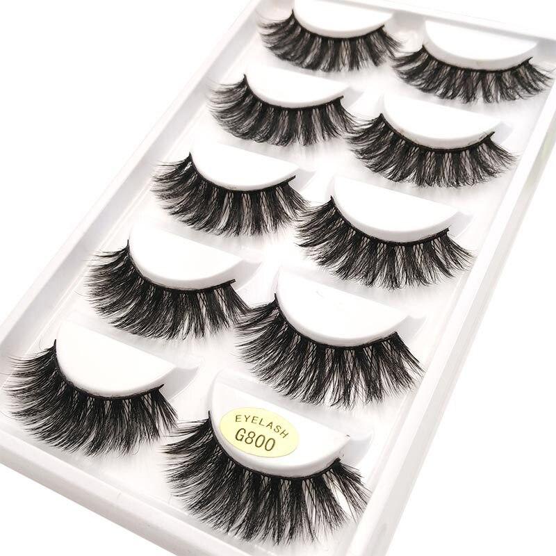 5 Pair False Eyelashes for Women Thick Long Eyelashes for Building 3D Mink Eye Lashes Makeup False Eyelash Extensions Tools