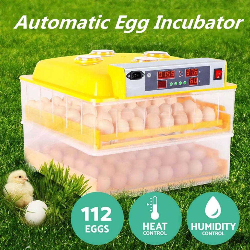 Plastic 112 Digital Chicken Eggs Incubator Temperature Control Automatic Incubator Turning Hatcher Incubation Tools Supplies